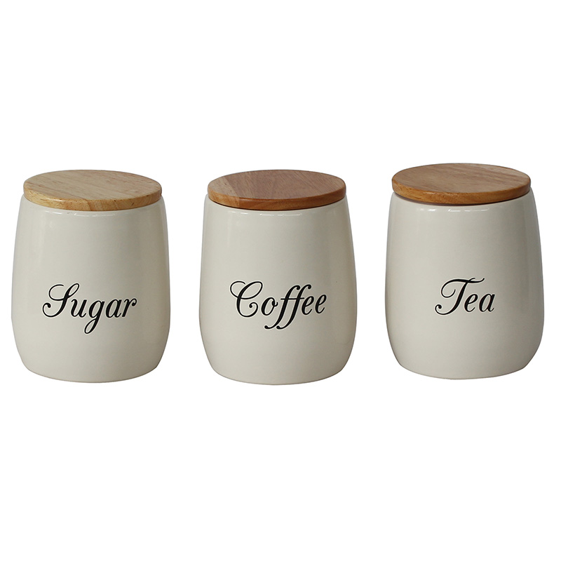 Food Grade Power Coated Metal Cream Set of 3 Tea Coffee Sugar Storage Canisters