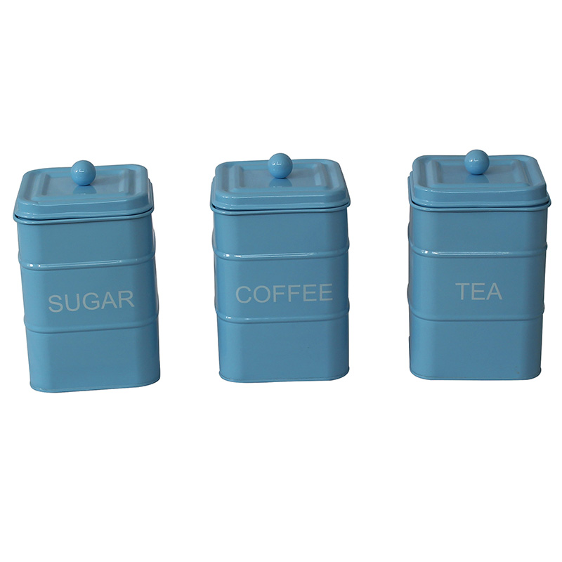 Galvanized metal set of 3 tea coffee sugar vintage kitchen canisters