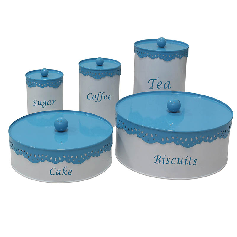 Metal round white cake biscuit sugar coffee tea kitchen storage set