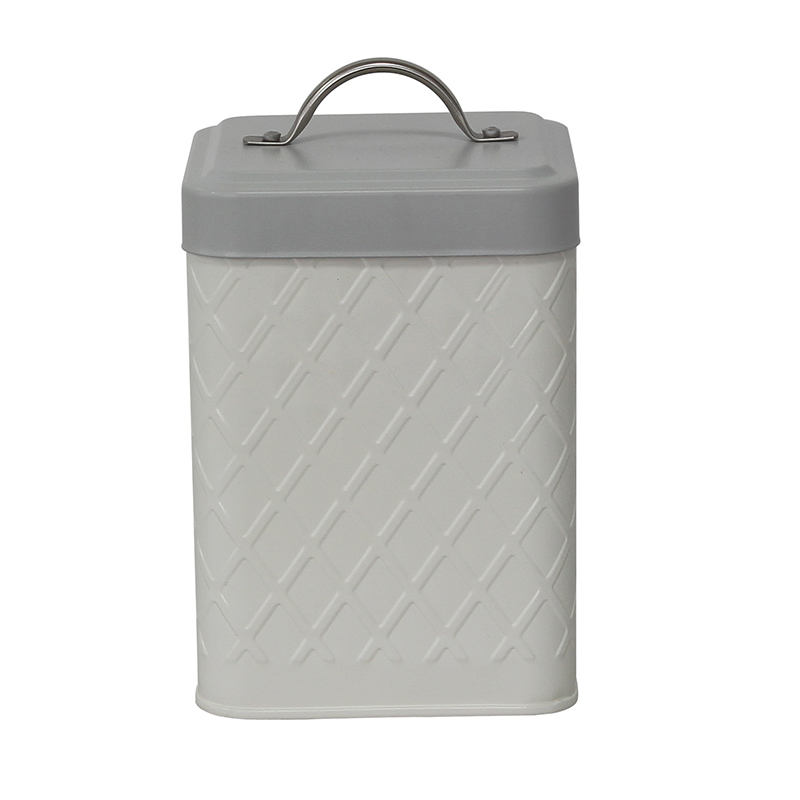 Square Home Kitchen Storage Metal Tin Canister