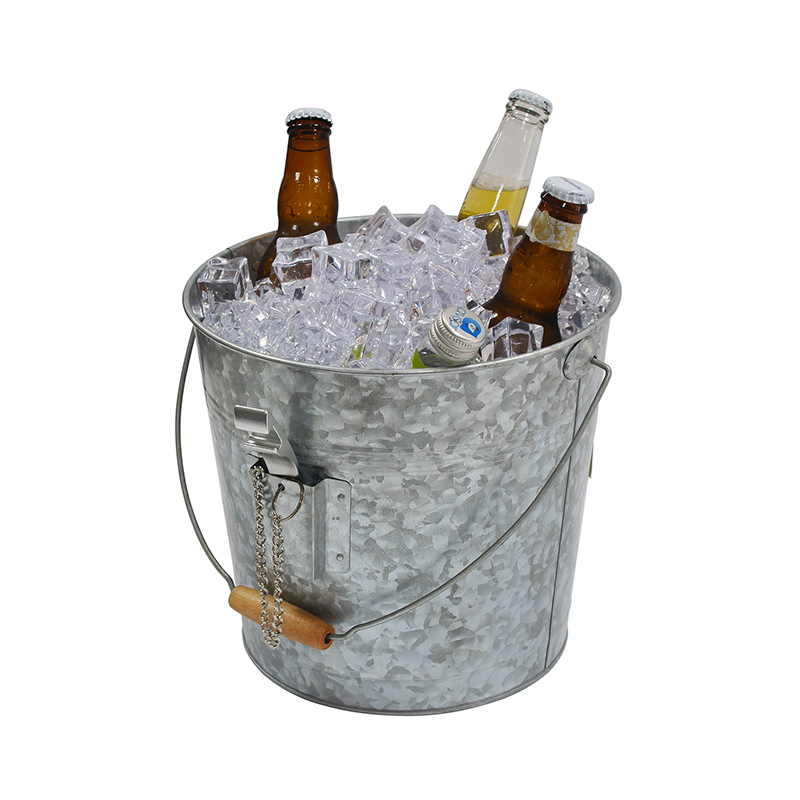Galvanized Steel Party Champagne Beer Ice Bucket With Bottle Opener