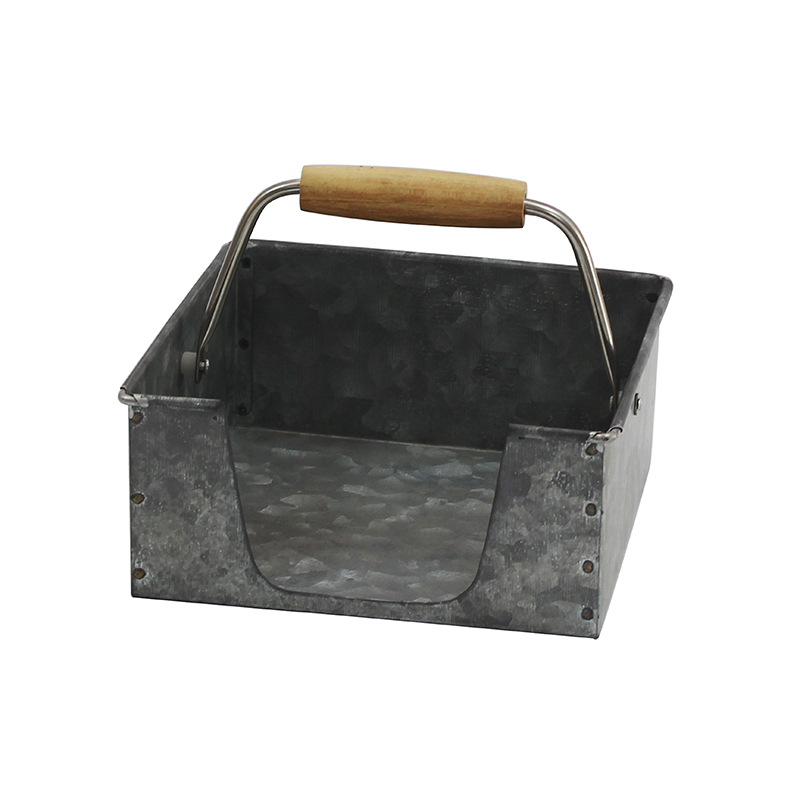 Rustic Dark Silver Galvanized Metal Table Top Paper Napkin Holder for Dining Table and Kitchen