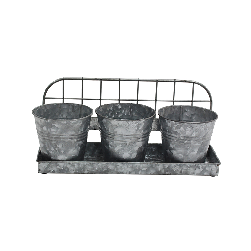 Country Style Galvanized Metal Wall Mounted Set 3 Flower Pot