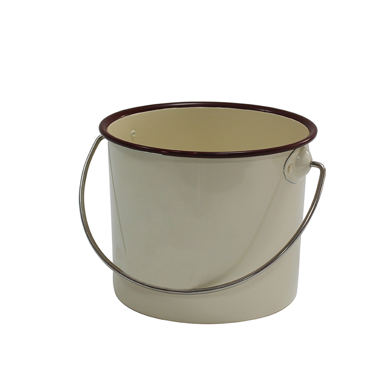 Cream metal mini bucket