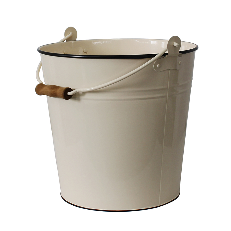 Mif garden brand power coated cream metal bucket