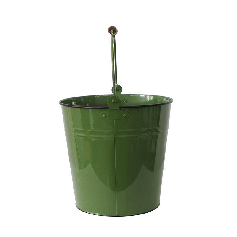 Dark green Metal pail bucket with handle