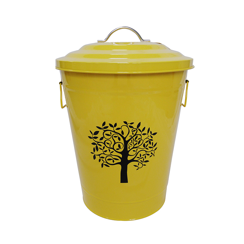 Factory Wholesale Yellow 9.5L metal outdoor trash can