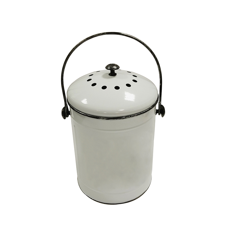 Galvanized Metal Indoor Countertop Kitchen Recycling Bin Pail