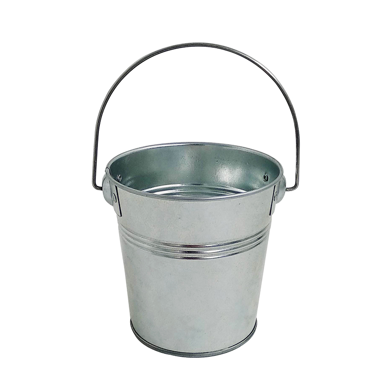 Custom Logo galvanized steel Sliver Mini Bucket For Decoration