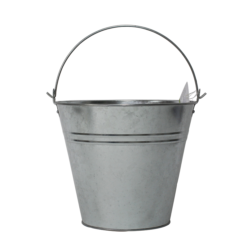 "10"" 7L Sliver Galvanized Metal Water Pails With Handles"