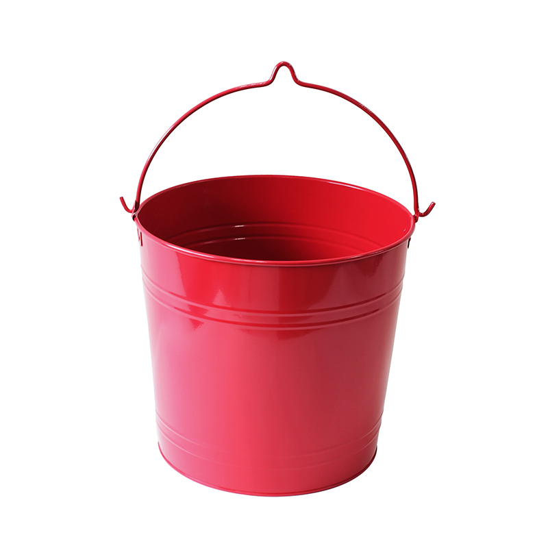 Red Tinplate Metal Home Decoration 12L Iron Bucket For Sale