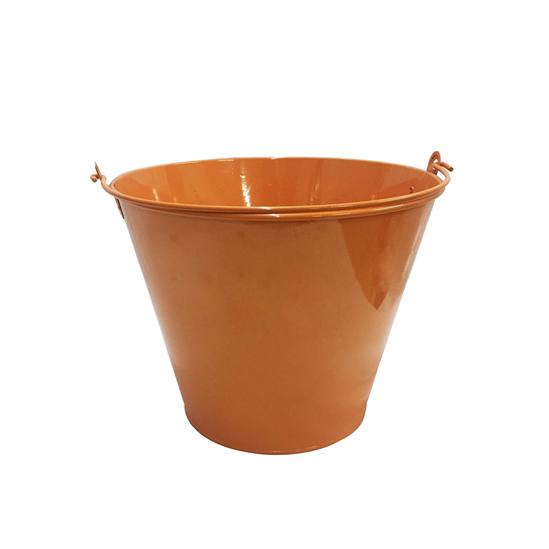 Orange Power Coated Custom Logo Galvanized Metal Bucket with handle