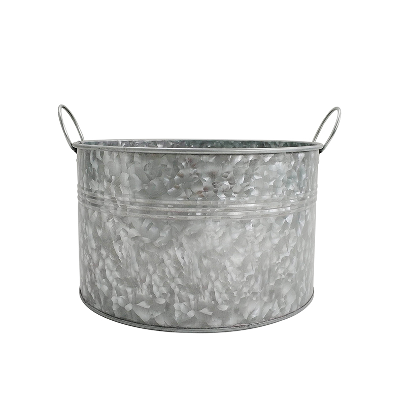 Factory Hot Sale Custom Logo Printed Sliver Galvanized Steel Party tub bucket