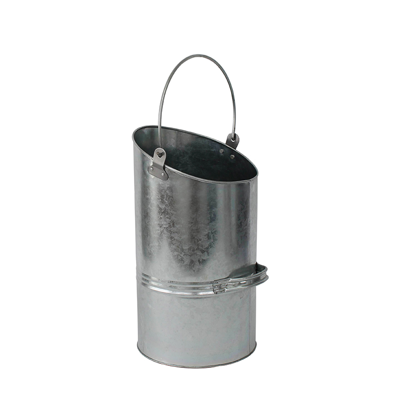 Mif Garden Brand Sliver Galvanized Steel fire place zinc ash bucket with handle