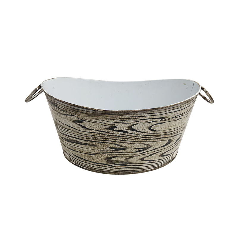 14-inch oval shaped hand-painted galvanized Metal Antique Party Ice Tub for Bever