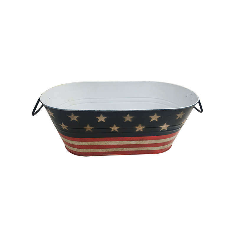 17 inches United States Flag Painted decoration Galvanized Metal Antique Beverage Tub For Beer Wine