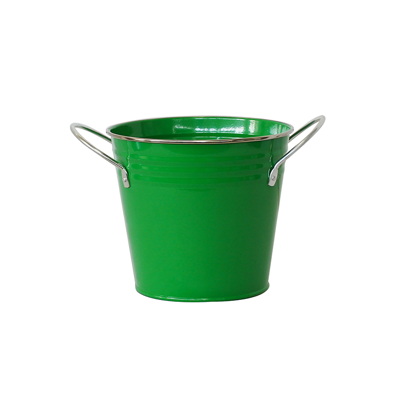 Custom Printed and color iron metal flower bucket With Fixed handle