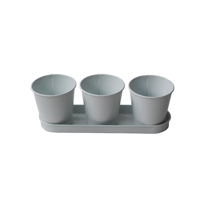 Metal Iron Power Coated Modern Farmhouse Flower or Herb Pot Set with Tray