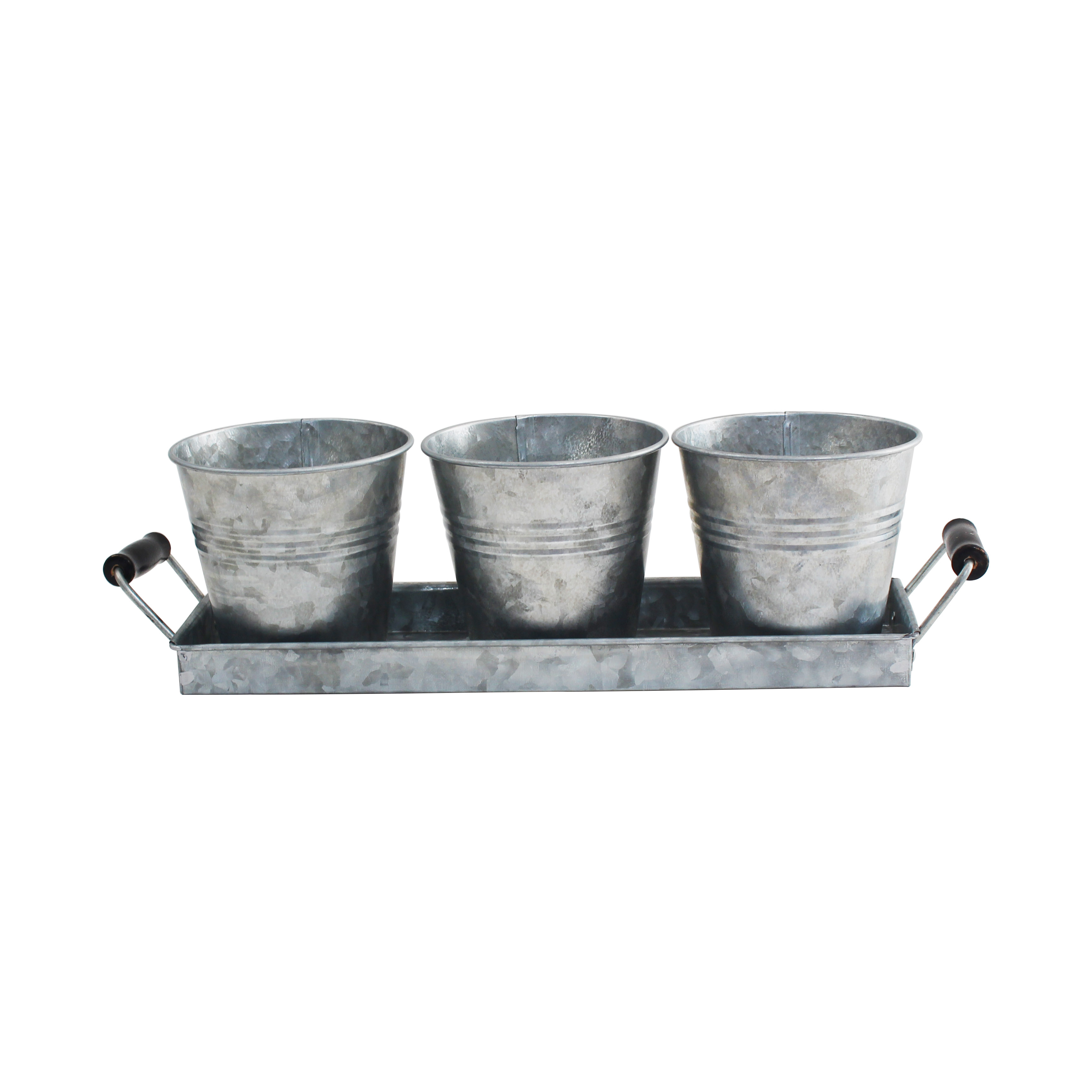 Set of 3 Galvanized Metal Windowsill Planters Herb Pots With Tray