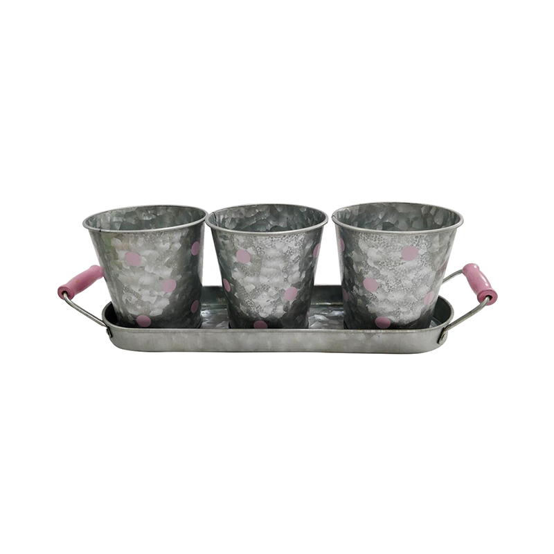 Modern Farmhouse Vintage Galvanized Metal Herb Plant Herb Pot Planter with Tray
