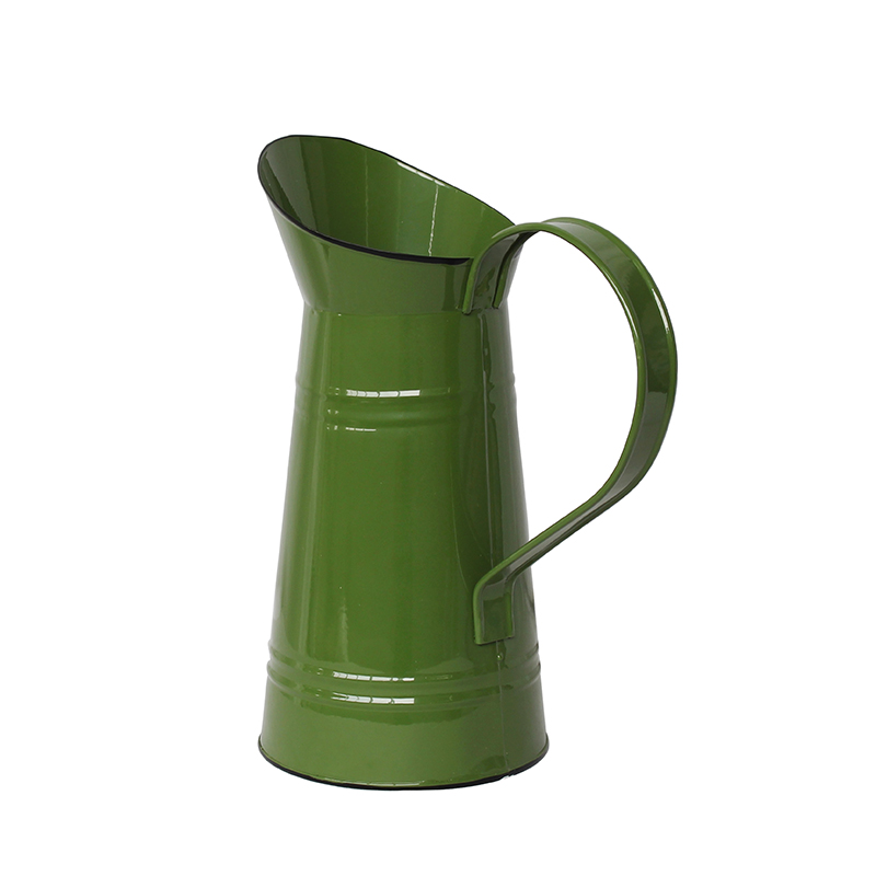 Green French Style Country Primitive Flower Vase Jug Rustic Metal Pitcher for for