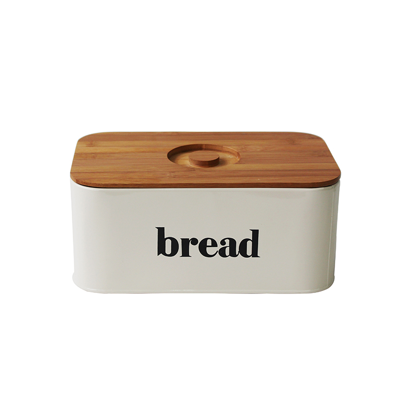 Cream White Vintage Metal Kitchen Storage Tin Canister Bread box