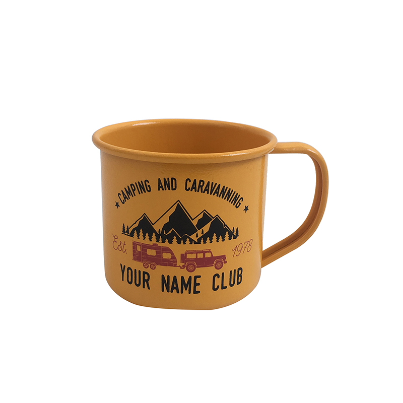 Yellow Outdoor indoor use custom printed Metal Enamel Coffee Mug