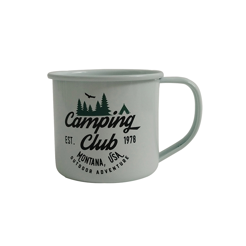 Cream White Enamel Metal Camping Camp Custom Mugs For Sale