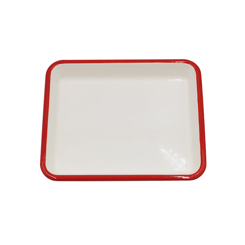Enamelware Solid White with Red Rim Square Dinner Enamel plate