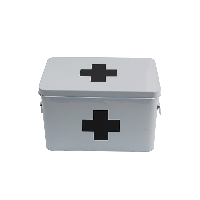 White Metal Home Storage First Aid Box with Lid & Black Cross on Front