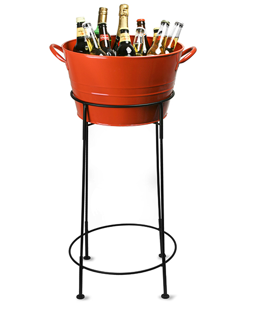 Outdoor or Indoor Use Home Galvanized Orange Party Tub with Stand
