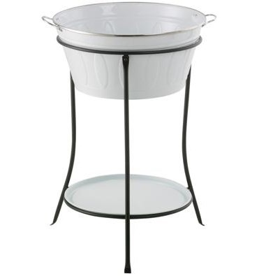 White Finish Ice Bucket Beverage Holder with Stand and Tray for Parties