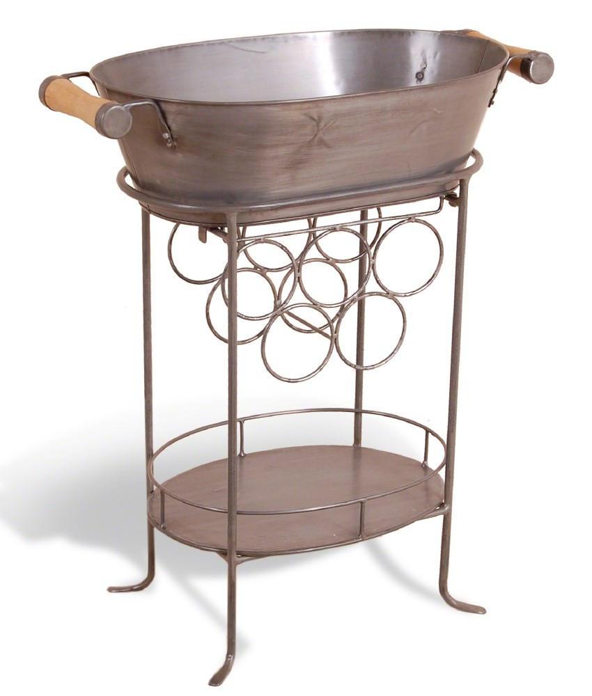 Power Coated Copper Antique Industrial Metal Beverage Tub with Stand