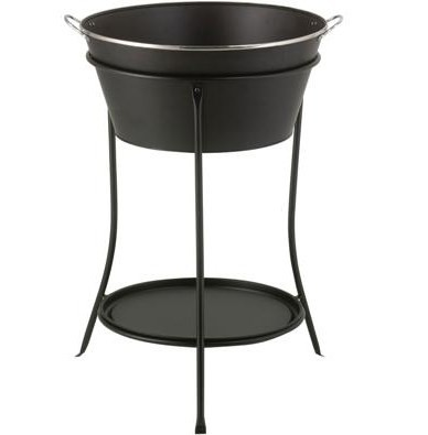 Black Steel Ice Bucket Drink Cooler Tub with Stand and Tray