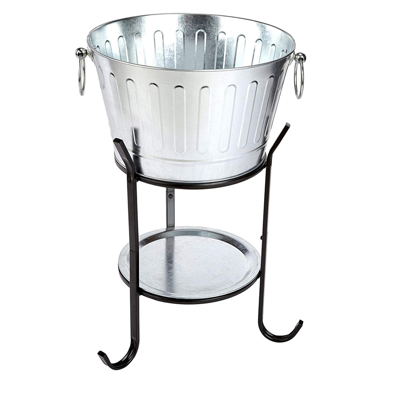 Galvanized Metal Party Beer Wine Champagne Beverage Tub With Stand