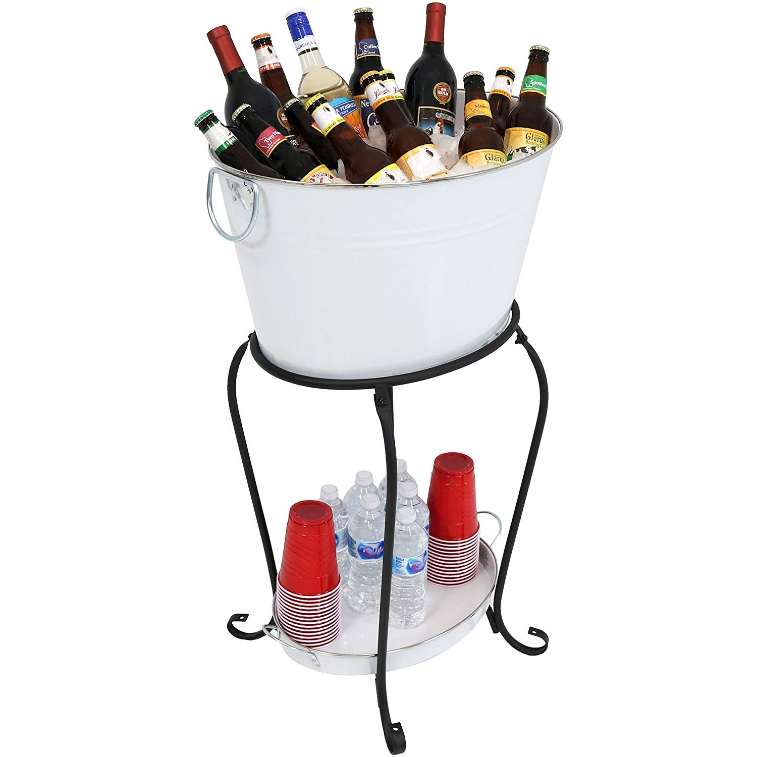 White Finish Beverage beer wine Holder with Stand and Tray for Parties