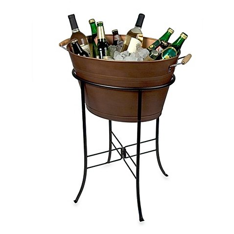 Indoor or outdoor use Antique Copper Oval metal Party drink Tub with Stand
