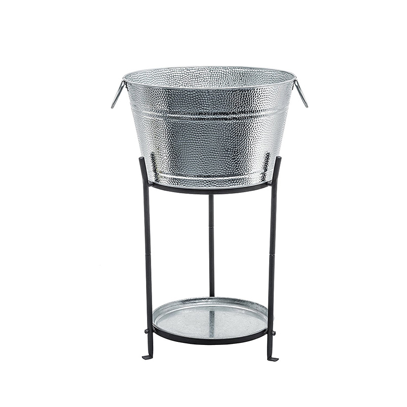 Superior Construction Galvanized Metal Party drinks cooler with stand and Tray