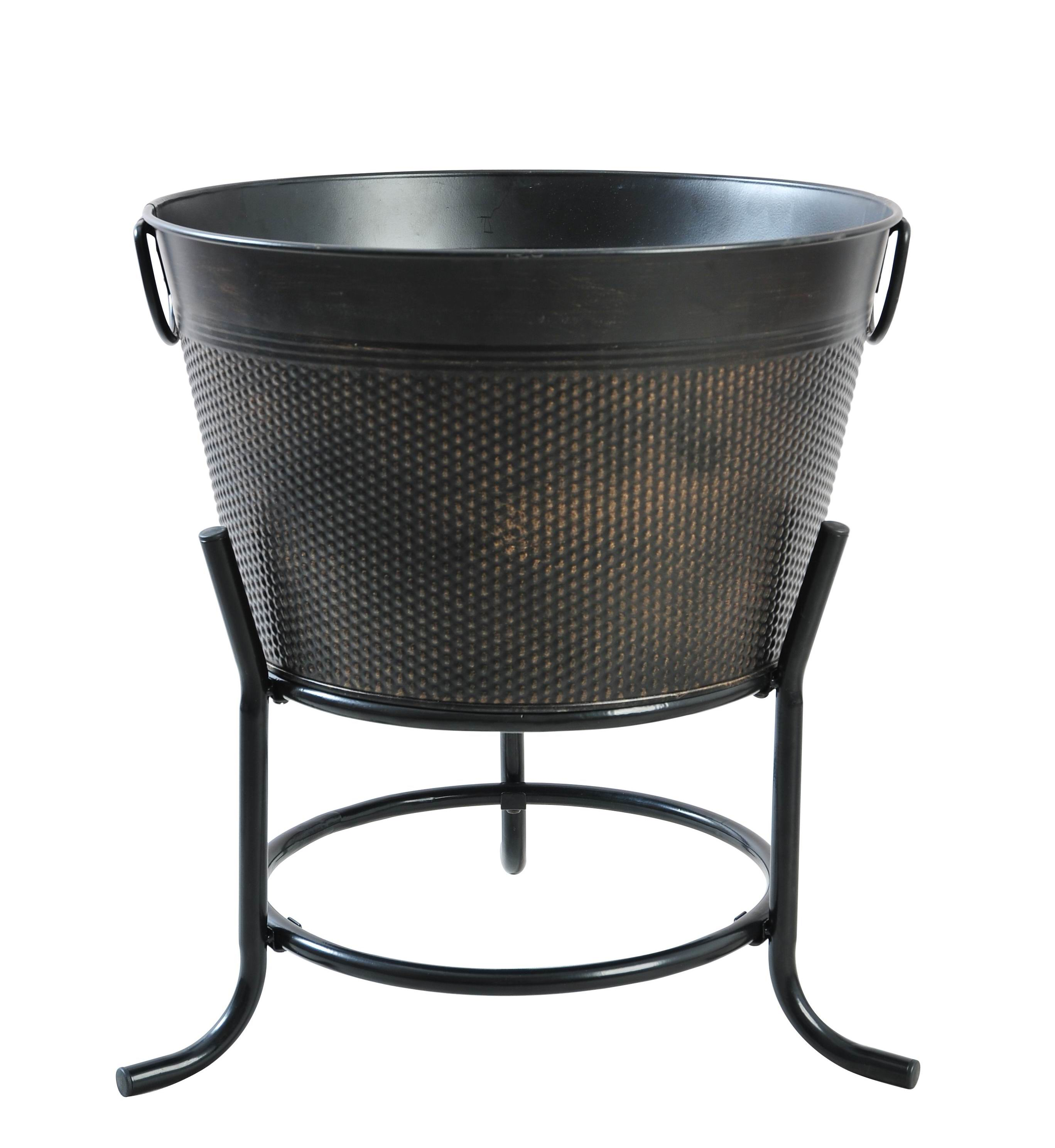 Black power coated Heavy Gauge Steel ice drink galvanized tub with Iron Stand