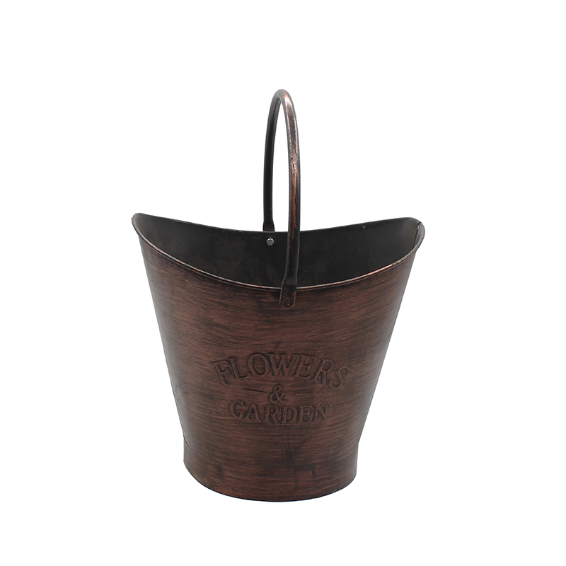Vintage Finish Ribbed Metal Planter