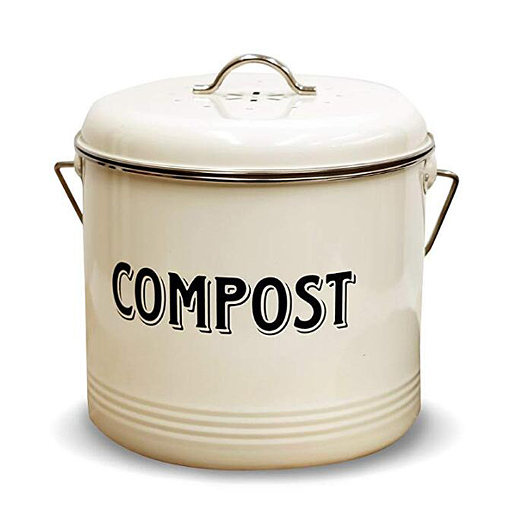 Compost Bin with FREE Charcoal Filters Vintage Cream Powder-Coated Carbon Steel |