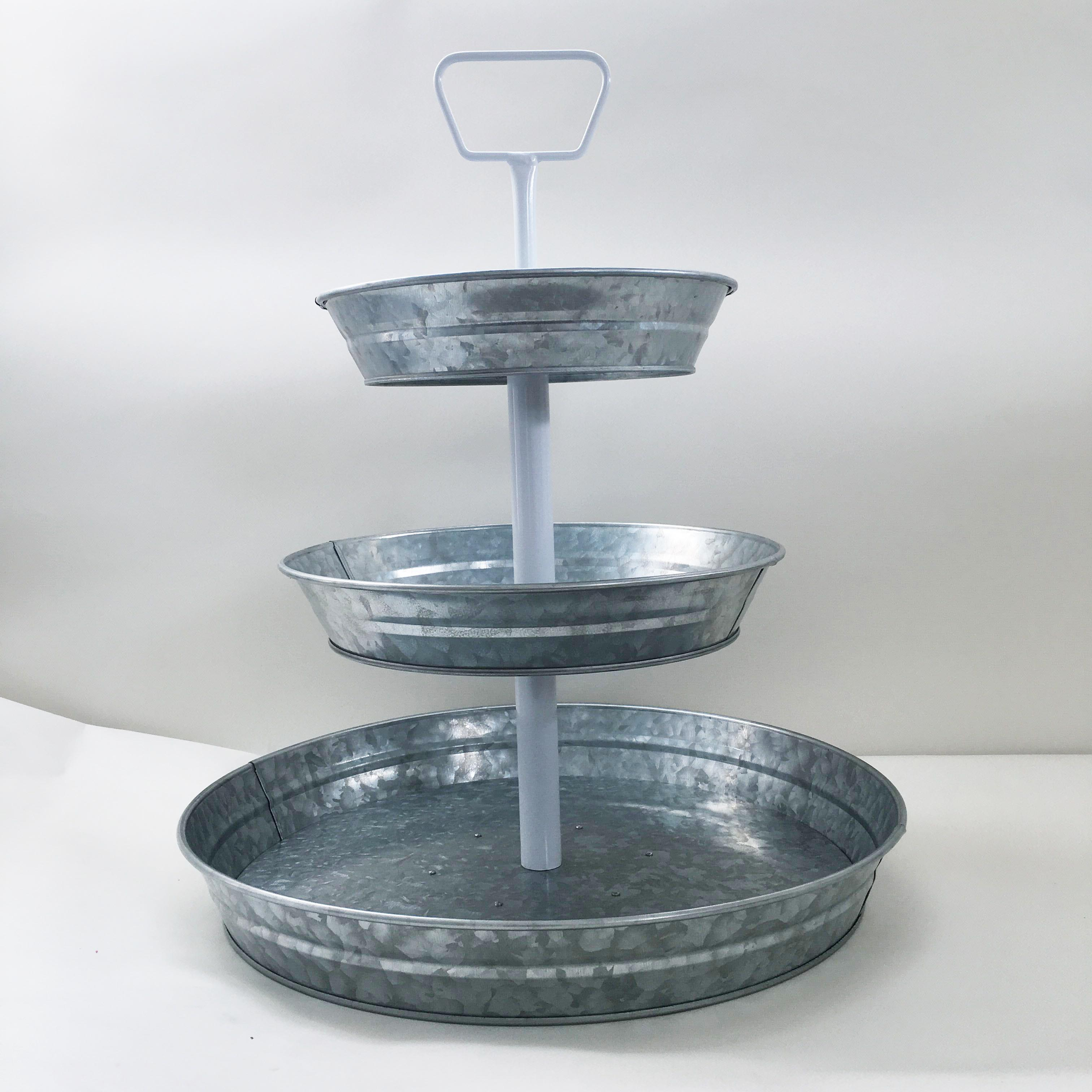 3 Tier Galvanized Round Serving Trays with White Handle