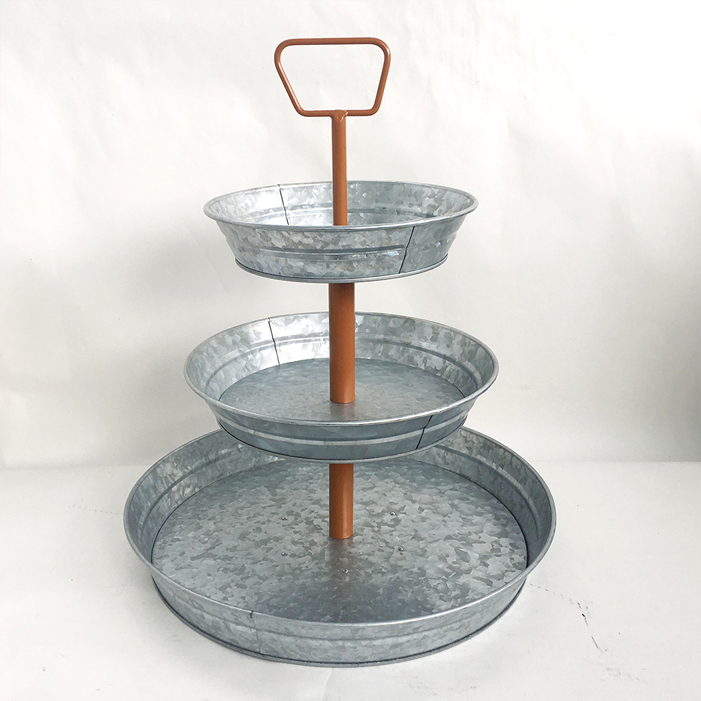 3 Tier Galvanized Metal Stand (Large)Brown Handle Farmhouse Style Serving Tray |