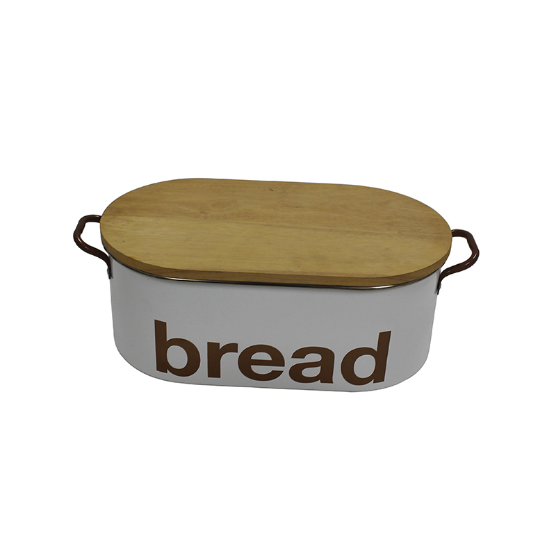 Metal Bread Bin With Bamboo Lid