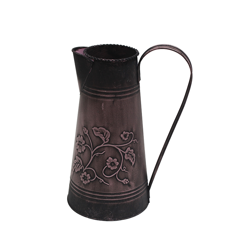 Rustic Style Metal Pitcher Flower Vase Primitive Jug for Wedding Home Decoration