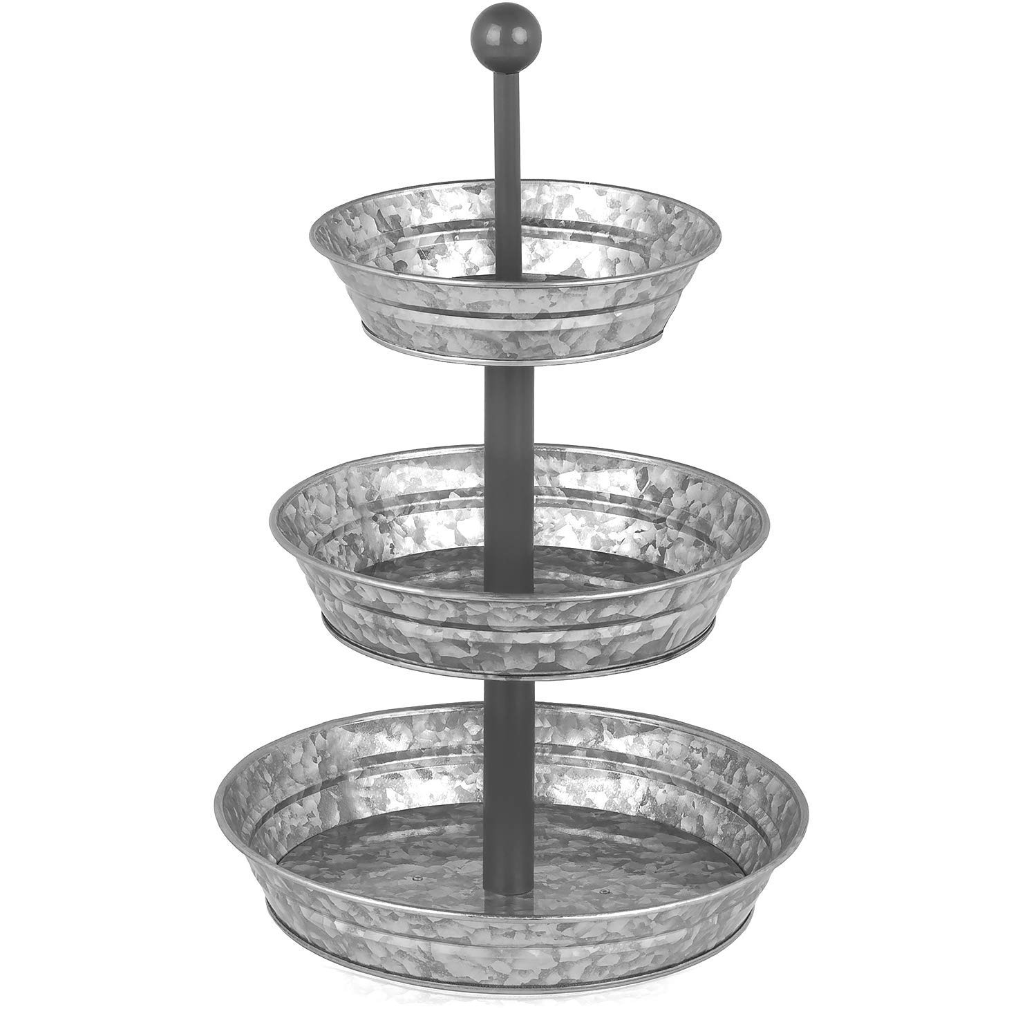 3 Tier Serving Tray - Galvanized, Rustic Metal Stand. Dessert, Cupcake, Fruit & Party Three Tiered Platter. Country Farmhouse Vintage Decor for the Kitchen, Home, Farm & Outdoor