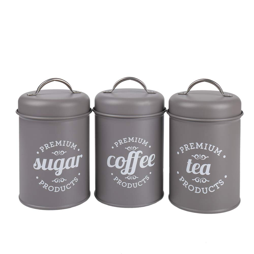 Hot Sale Set of 3 Metal Food Storage Tin Canister/Jar with Lid (light gray)