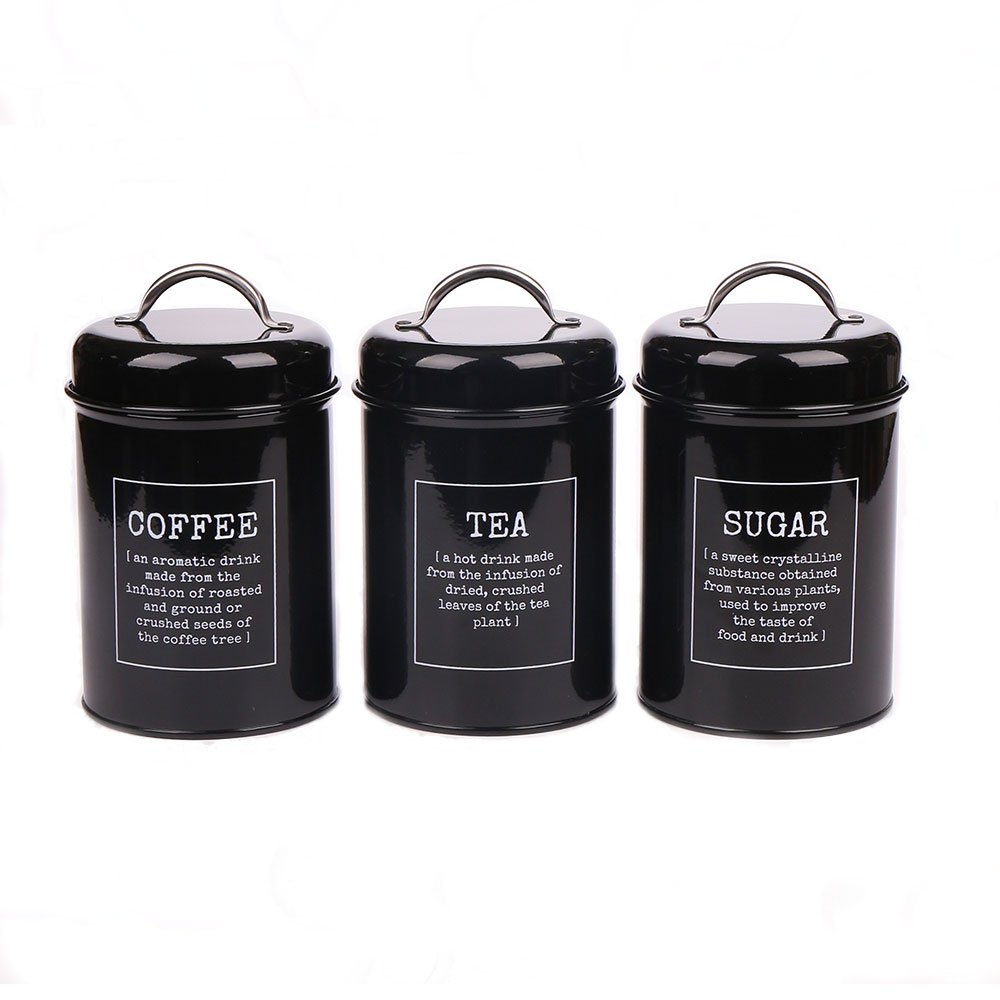 Metal Containers with Lids, Coffee, Tea, Sugar, Set of 3, Black