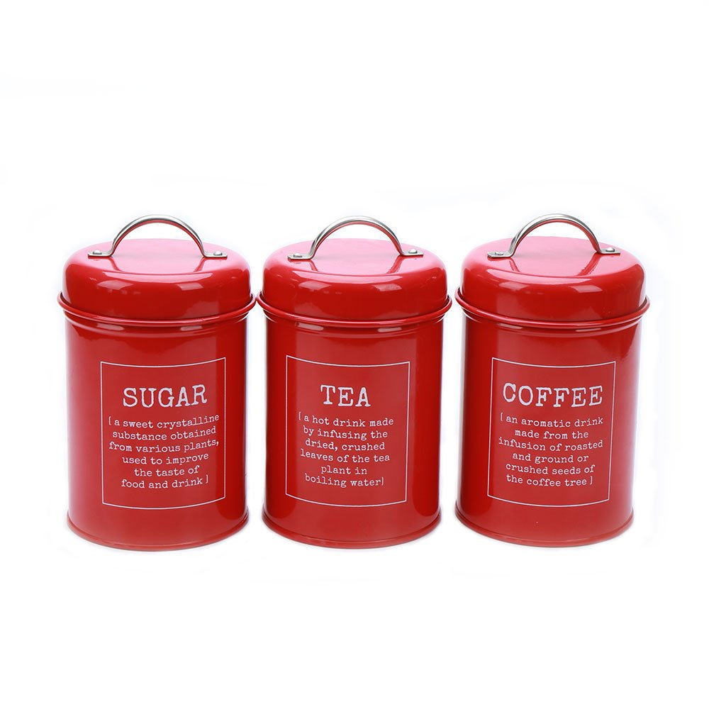 Kitchen Canister Set - 3-Piece Coffee, Sugar, and Tea Storage Container Jars with