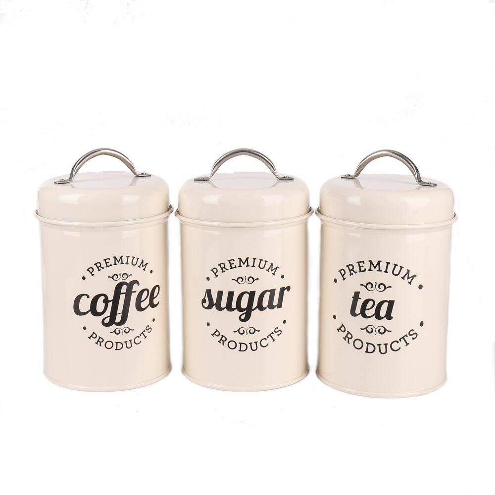 3 Piece Coffee, Sugar,Tea Metal Canister Set, Cream